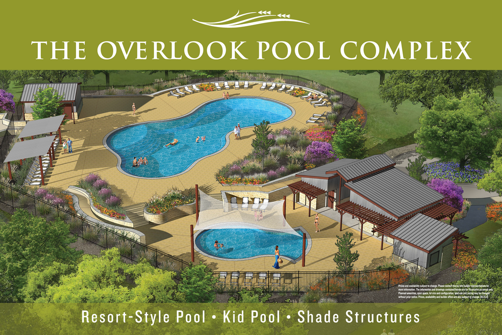 resort-style pool, Caliterra amenities, Dripping Springs master-planned community, swimming in Dripping Springs, Overlook Pool Complex, Caliterra community pool